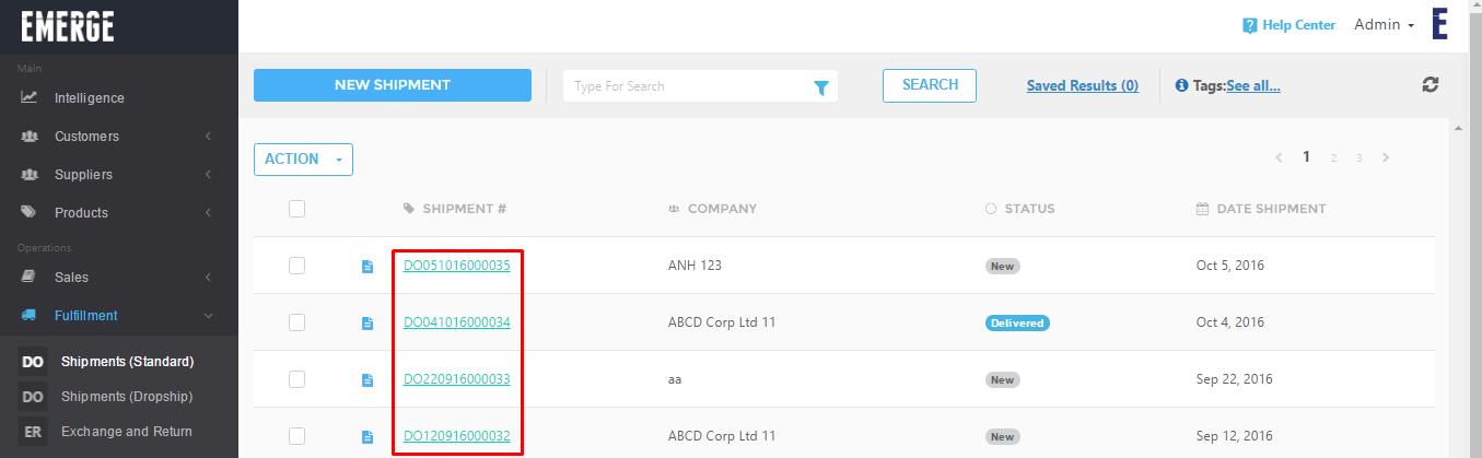 shipment-listing-page