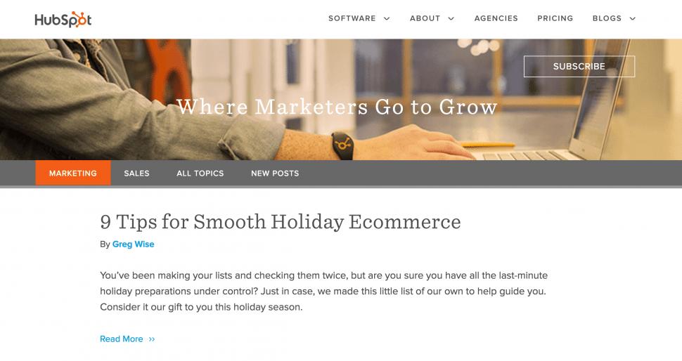 hubspot eCommerce blog